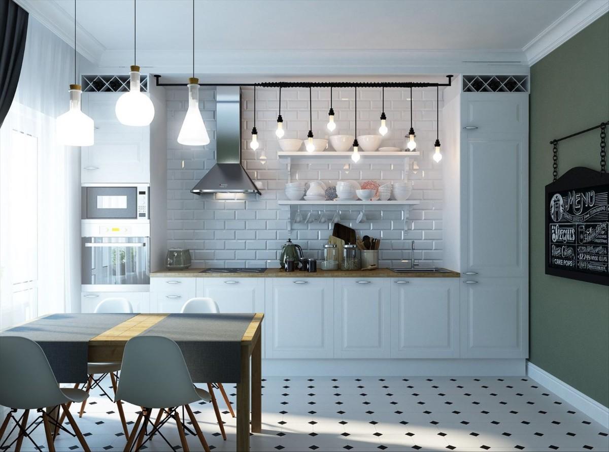 кухня в чёрно-белом дизайне с ярким акцентом в виде серо-зелёной стеной