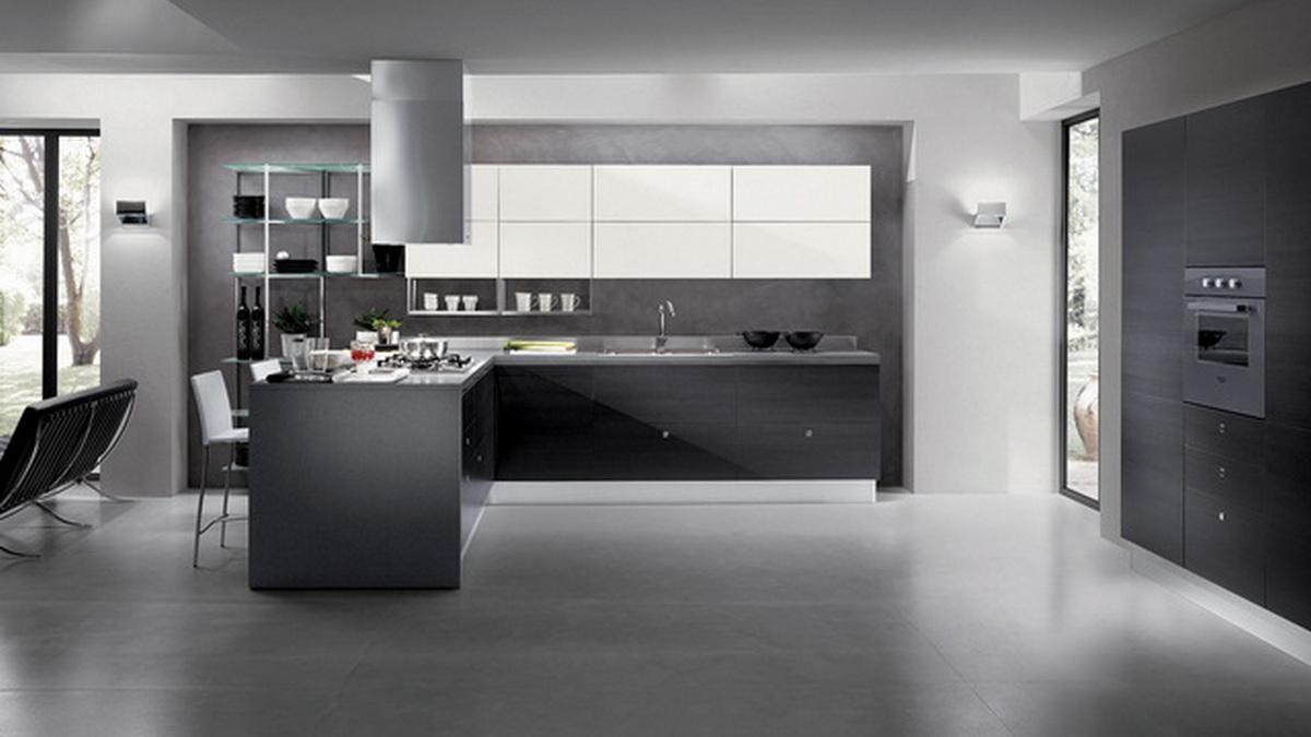 кухня в доме стиль хай тек