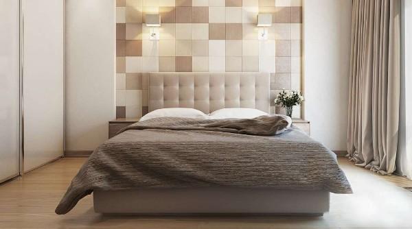 маленькая спальня в современном стиле беж