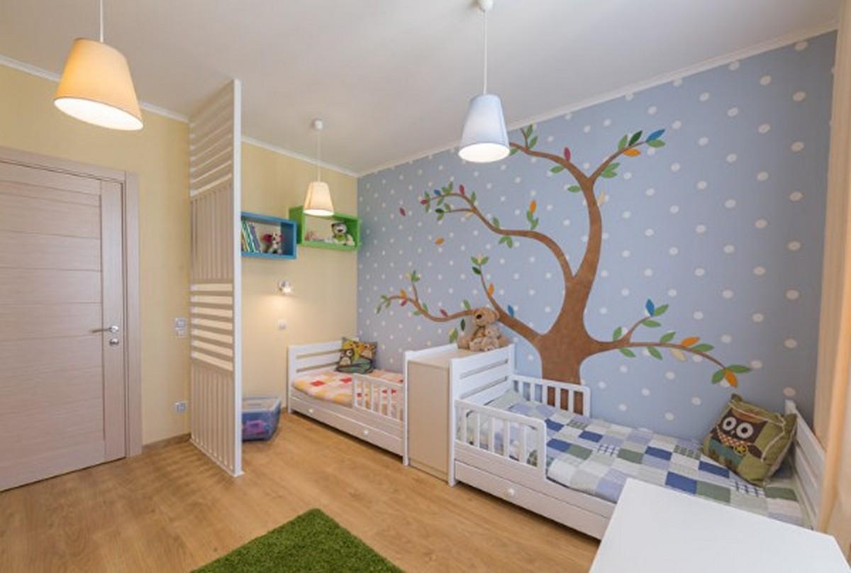 организация освещения в детской комнате для двух малышей