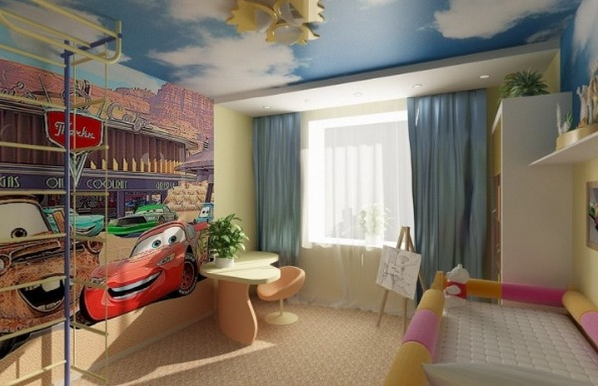 организация освещения в детской комнате небо на потолке