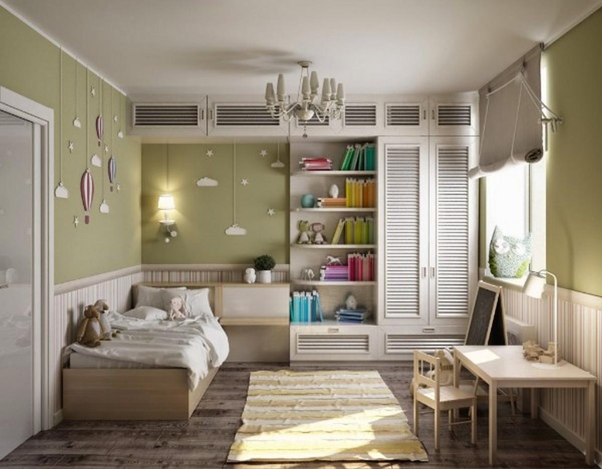 организация освещения в детской комнате оливковый цвет стен