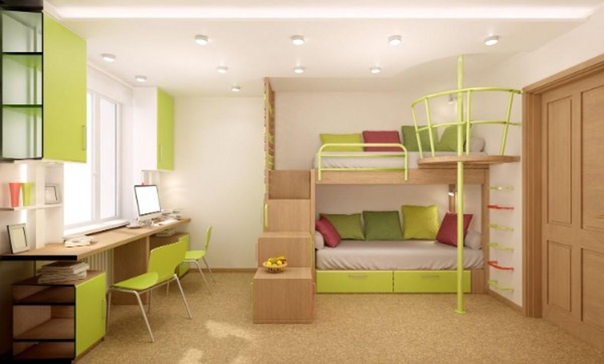 организация освещения в детской комнате потолок без люстры