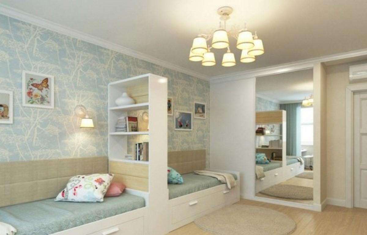 освещение в детской комнате дизайн в голубых тонах