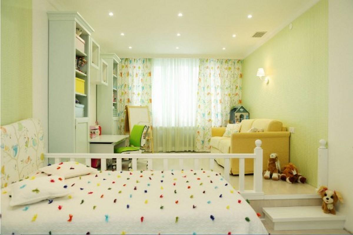 освещение в детской комнате светло-зелёный дизайн