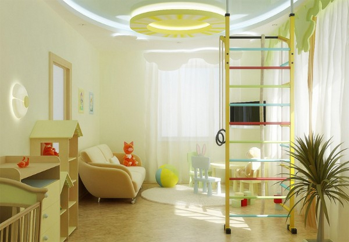 освещение в детской комнате светло-жёлтый дизайн
