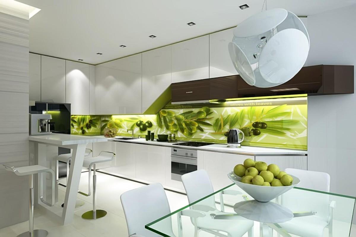 освежающий дизайн белая кухня с яркими оливковыми акцентами
