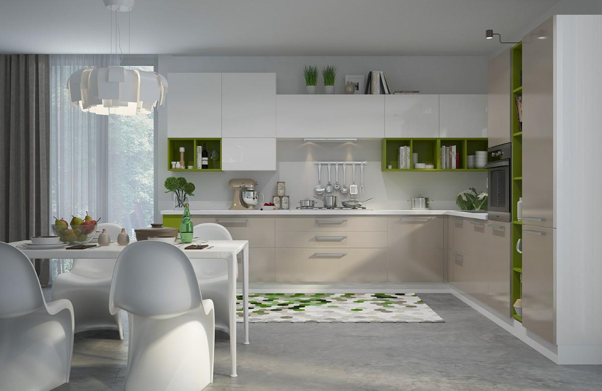 освещающий дизайн белая кухня с яркими салатовыми акцентами