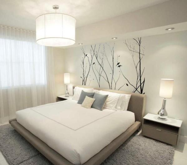 просторная светлая спальня в современном стиле