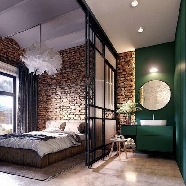 ремонт спальни в стиле лофт фото