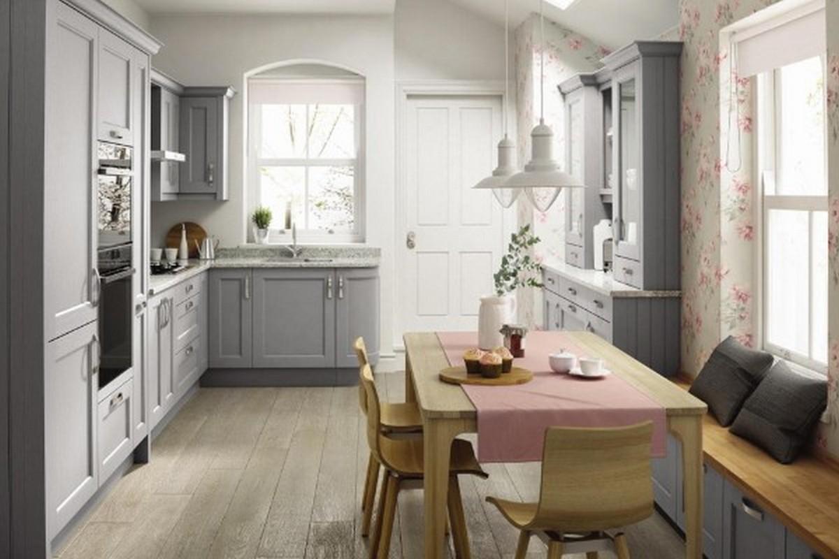роскошная серая кухня в английском стиле