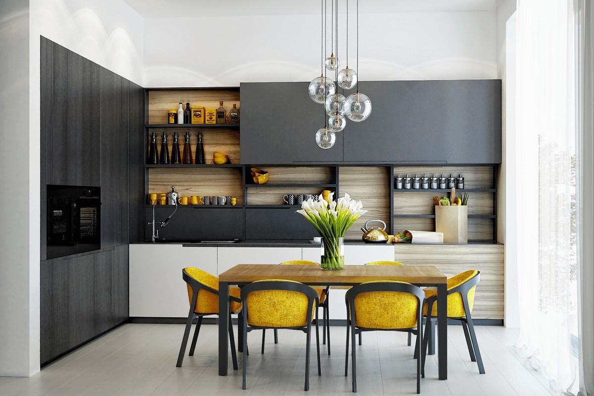 серая кухня с ярким жёлтым акцентом