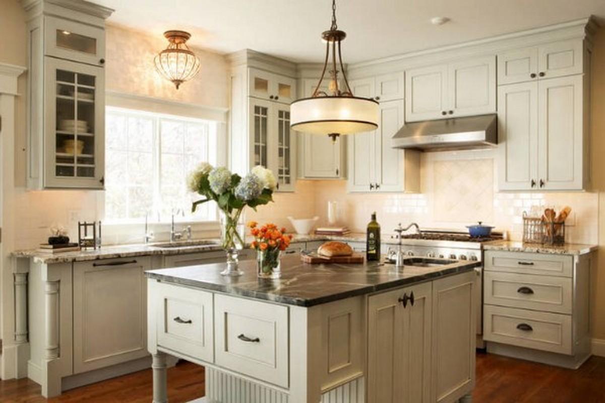 серо-белая кухня в английском стиле