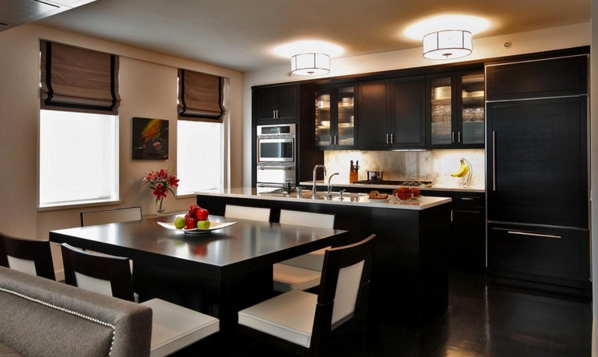 шикарная чёрная кухня с гостиной с ярким акцентом