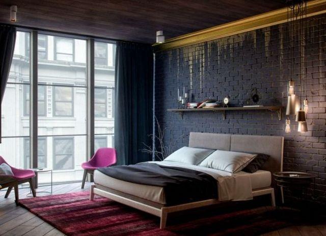 шторы в спальню в стиле лофт