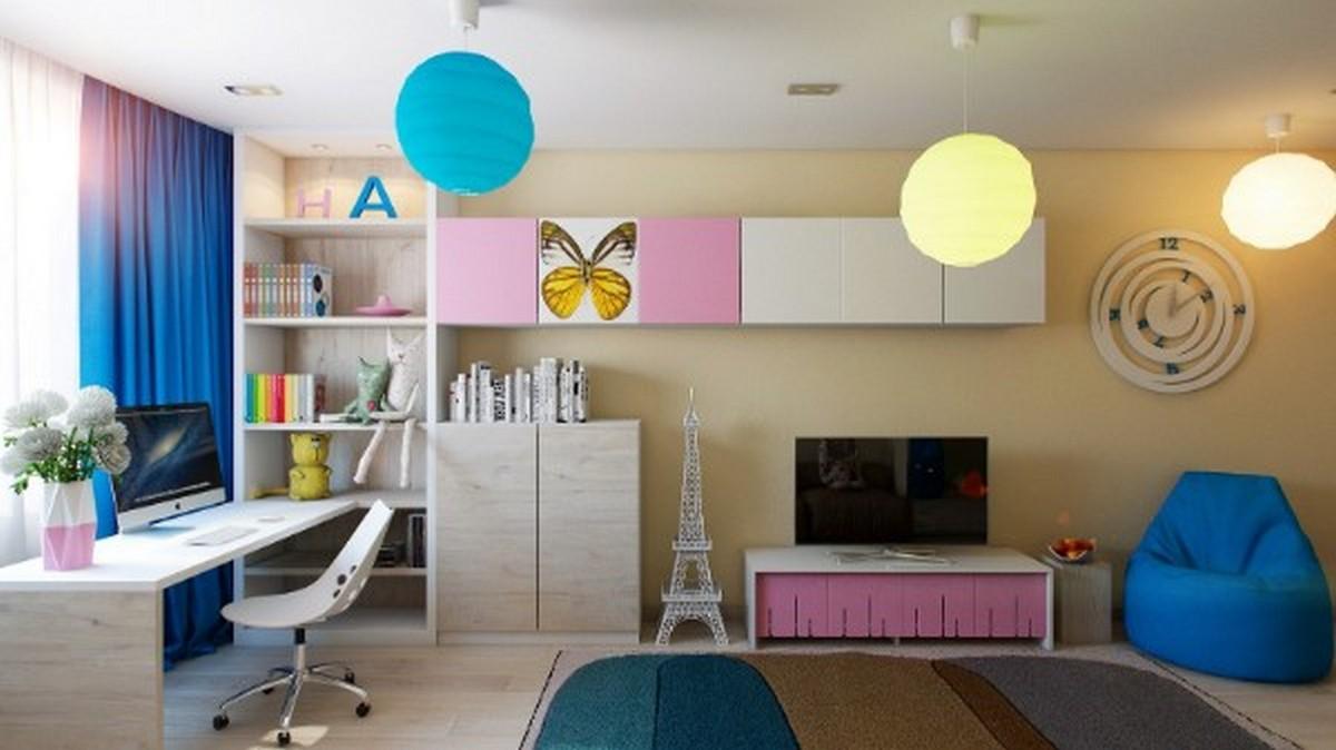 современная детская комнатаа дизайн освещения фото