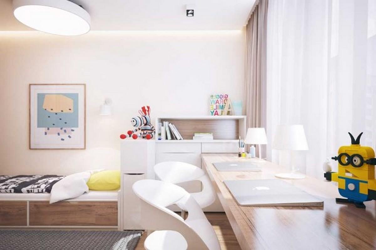 современная детская комната в лаконичном дизайне освещение