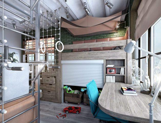 спальня гостиная в стиле лофт