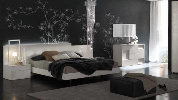 спальня в современном стиле чёрная стена акцентная