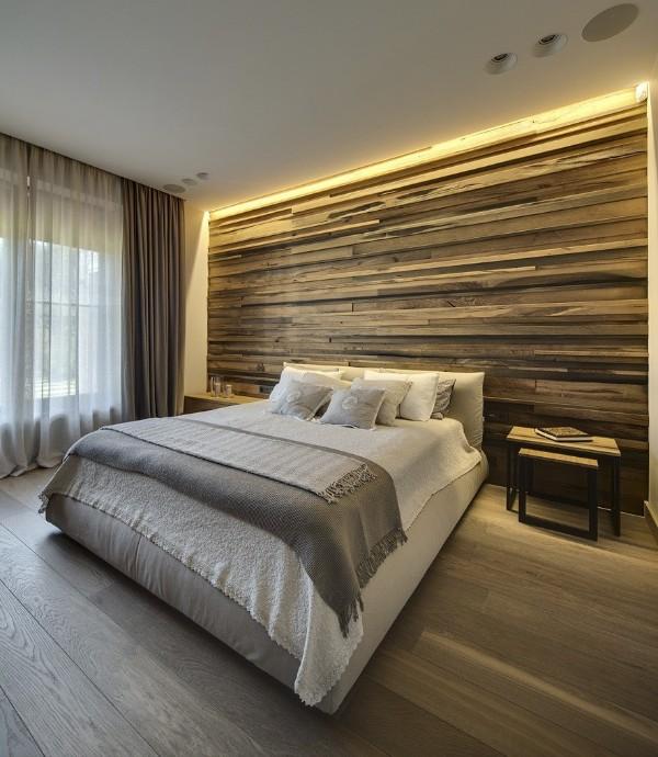 спальня в современном стиле фактурная стена под дерево