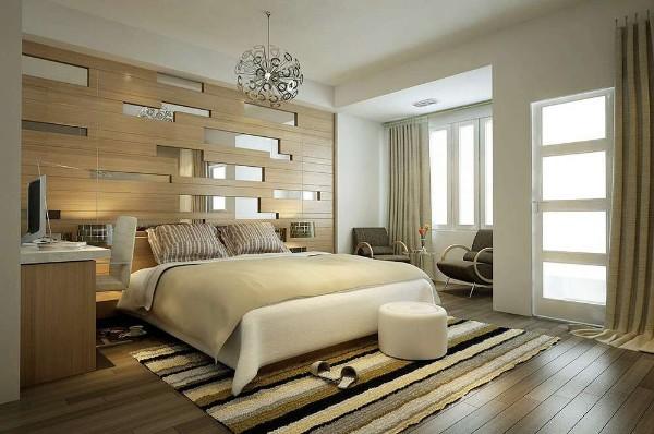 спальня в современном стиле креативная стена у изголовья