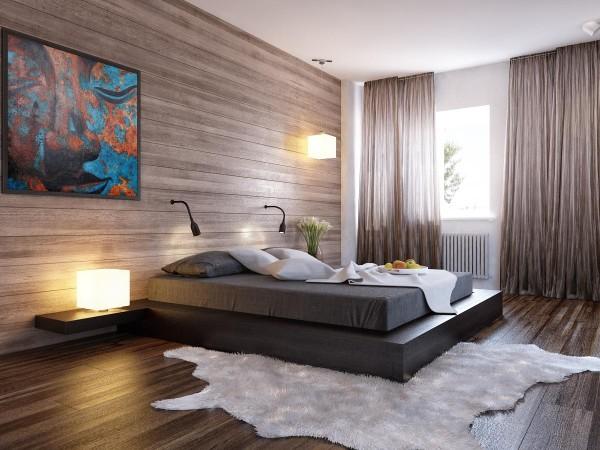 спальня в современном стиле кровать с полками