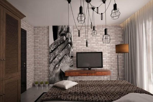 спальня в современном стиле лофт