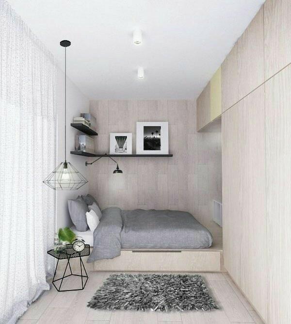 спальня в современном стиле пример дизайна в помещении неправильной конфигурации