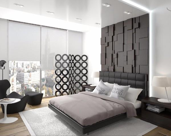 спальня в современном стиле с фактурной стеной