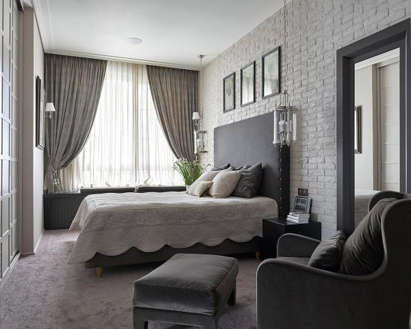 спальня в современном стиле серый интерьер