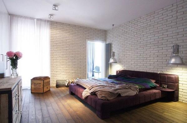 спальня в современном стиле стена без отделки
