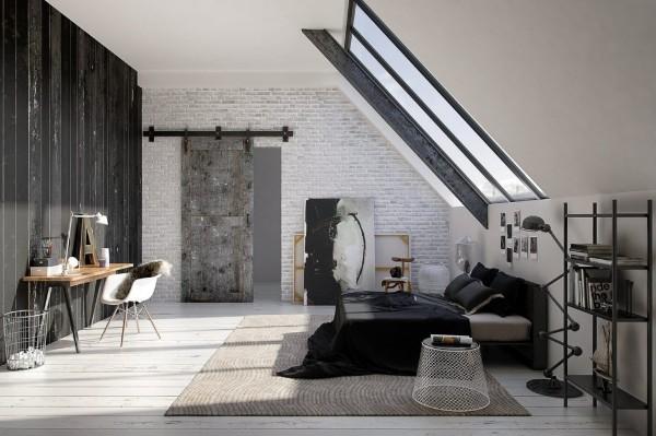 спальня в современном стиле в мансарде