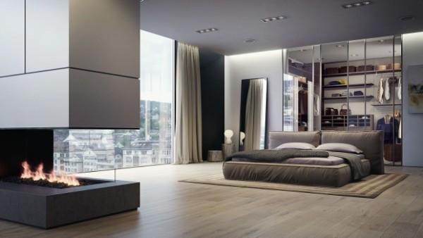 спальня в современном стиле в пентхаусе