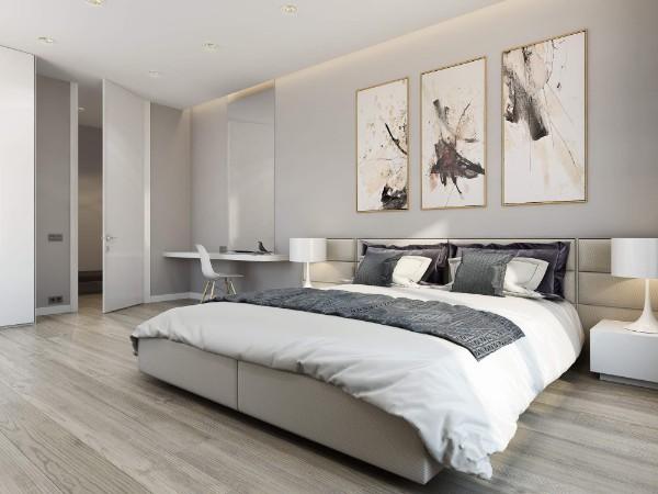 спальня в современном стиле в серых тонах