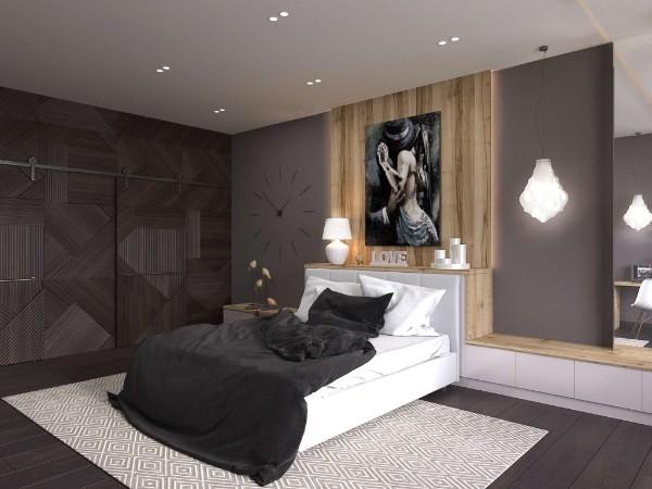 спальня в современном стиле встроенная мебель и кровать с полками