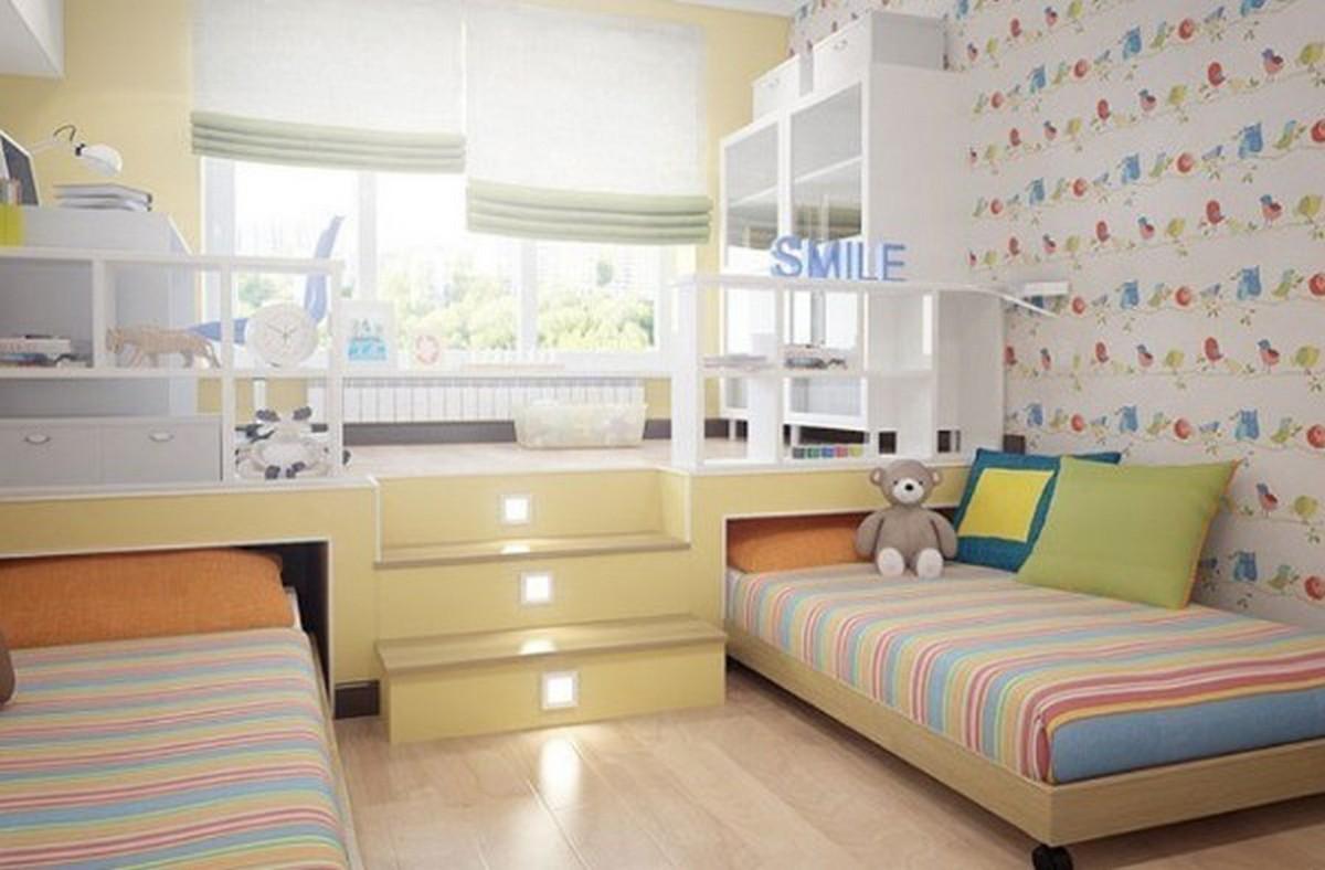 светлая детская комната дизайн освещения