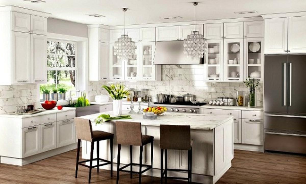 светлая кухня в английском стиле пол из дерева