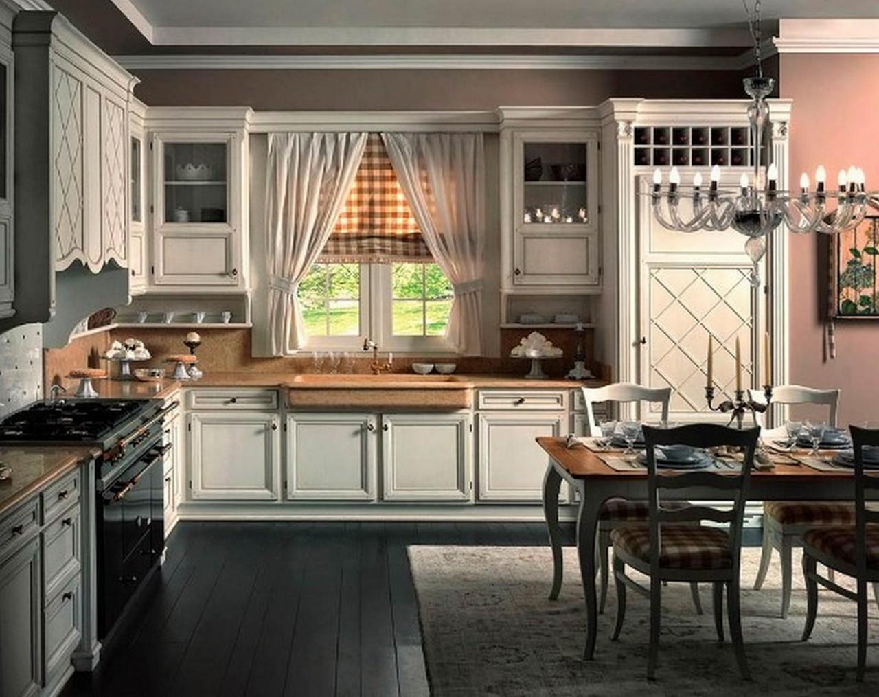 светлая кухня в английском стиле с чёрным напольным покрытием