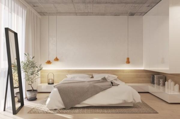 светлая лофтовая спальня в современном стиле беж