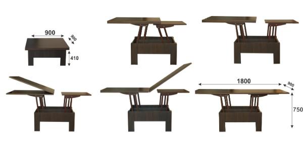 тёмно-коричневый раскладной стол трансформер