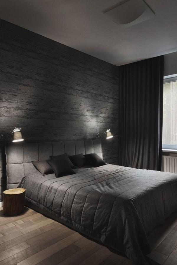 тёмно-серая спальня в современном стиле