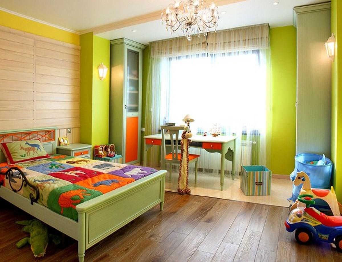 точечное освещение в детской комнате с люстрой