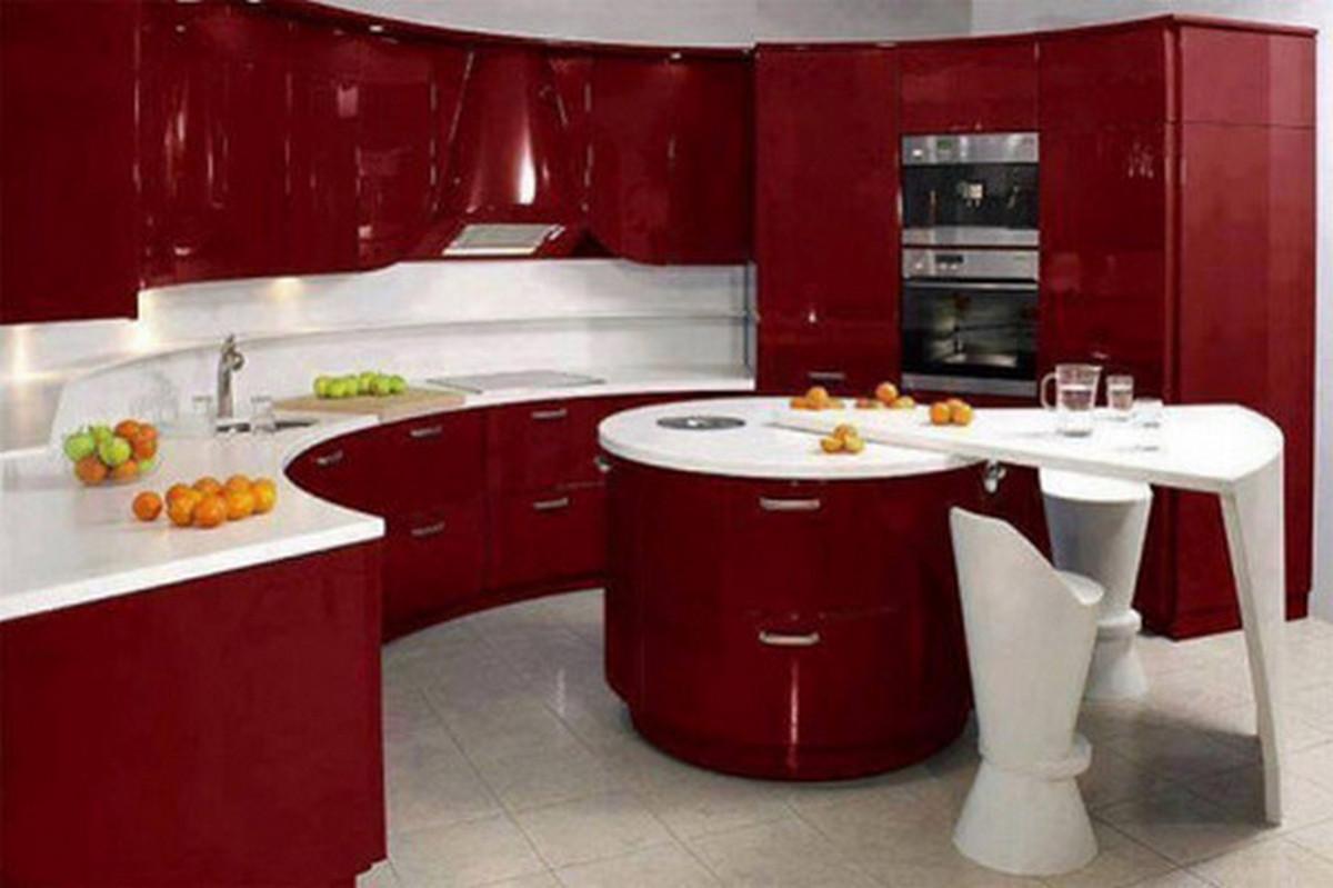 угловая кухня в стиле хай тек фото