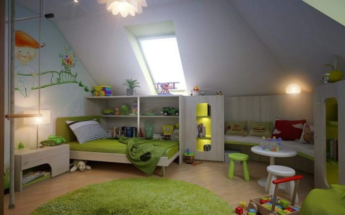 уютная детская комната в мансарде дизайн освещения