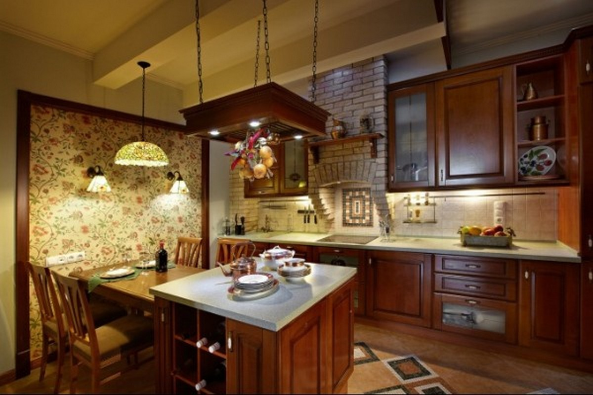 уютная коричневая кухня в английском стиле