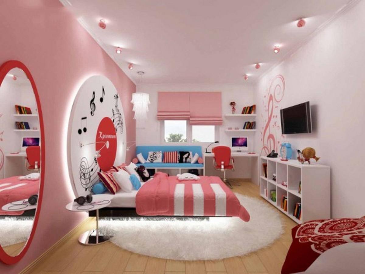 узкая детская комната для девочки освещение