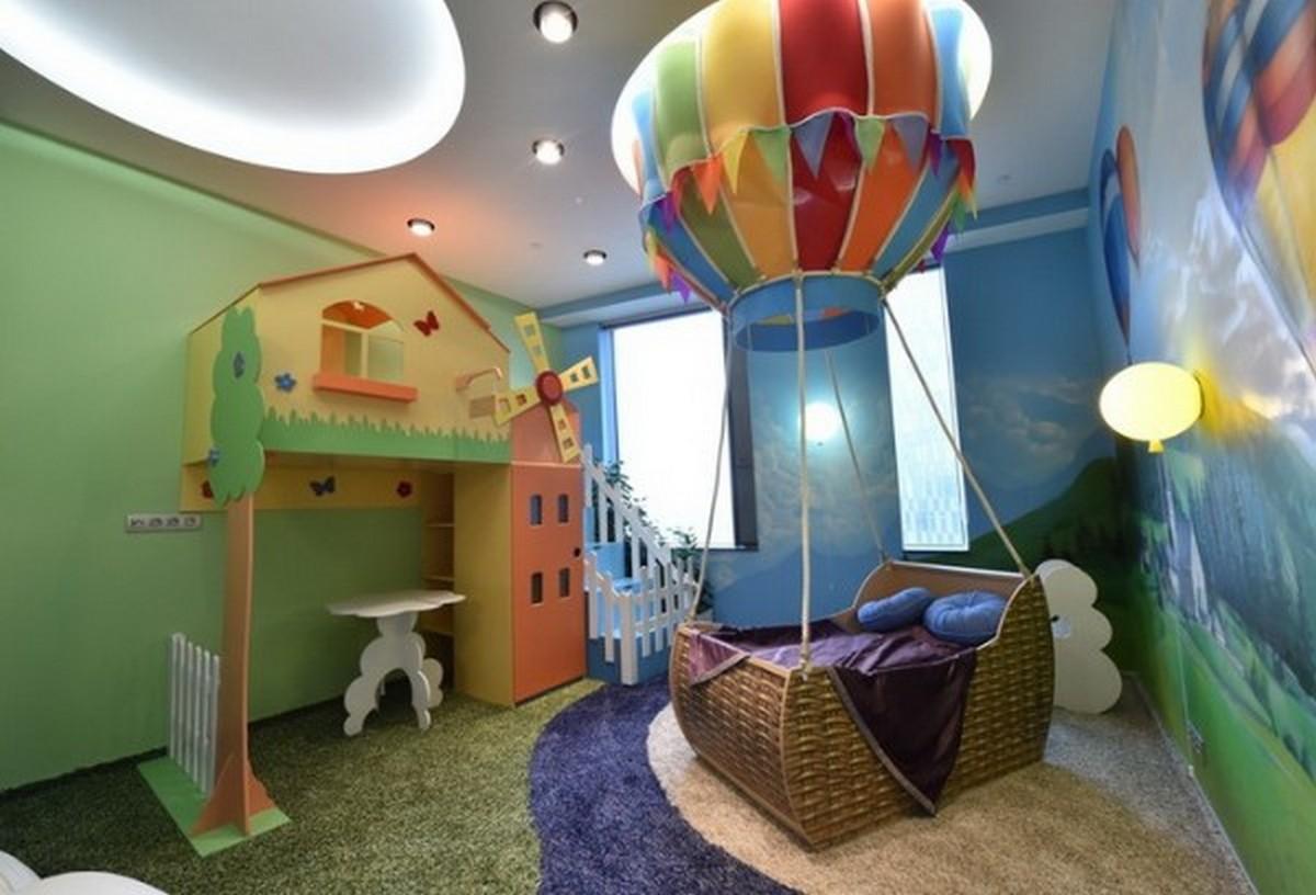 яркая детская комната дизайн освещения