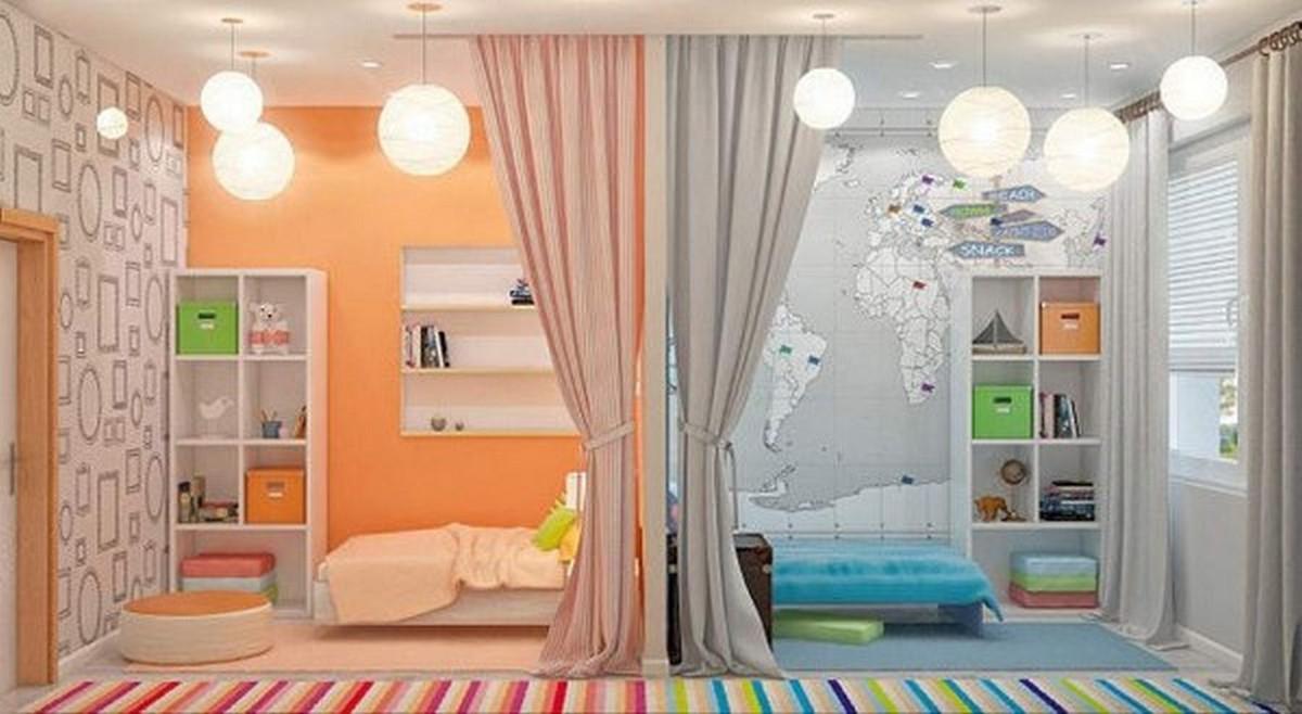яркая детская комната для разнополых детей дизайн освещения