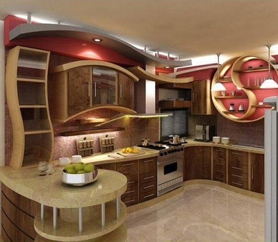 закругленная мебель для кухни