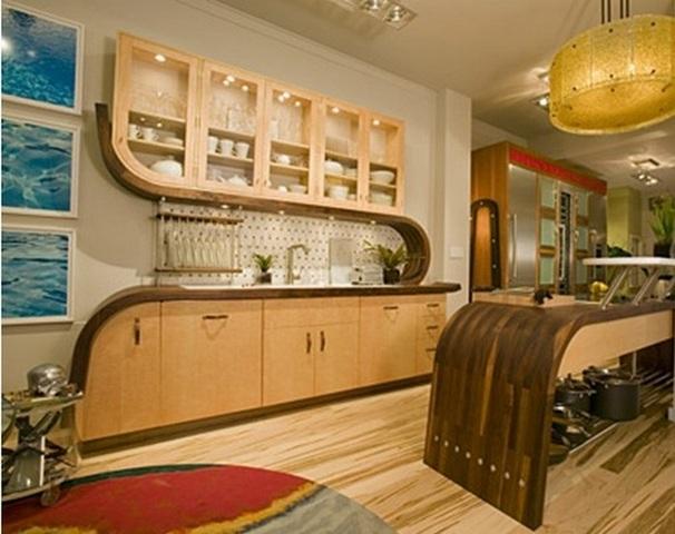 закругленная кухонная мебель